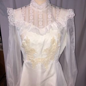Vintage 70's boho prairie wedding dress Lace